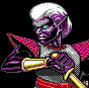 dark elf pixel art Portrait di guerriero drow Videogame: AD&D, Curse of the Azure Bonds (1989-12) © SSI, Wizards of the Coast & Hasbro