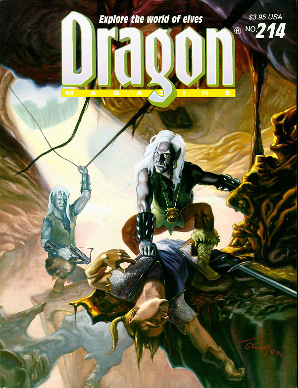 d&d dark elf elfo scuro Drow in copertina - by Alan Pollack Dragon Magazine #214 (1995-02) © Wizards of the Coast & Hasbro