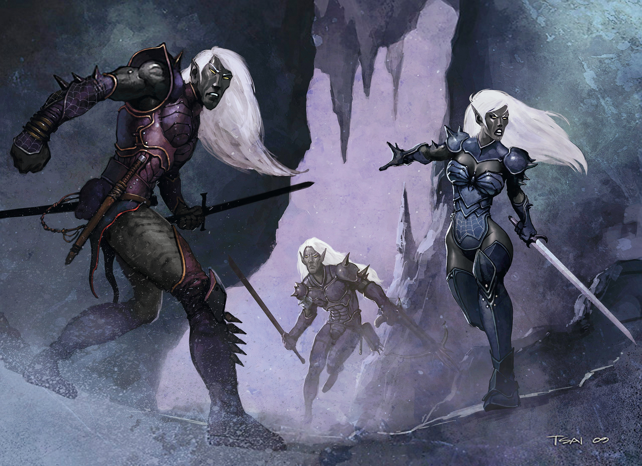 dark elf drow underdark Elfi scuri - by Francis Tsai Underdark (2010-01) © Wizards of the Coast & Hasbro
