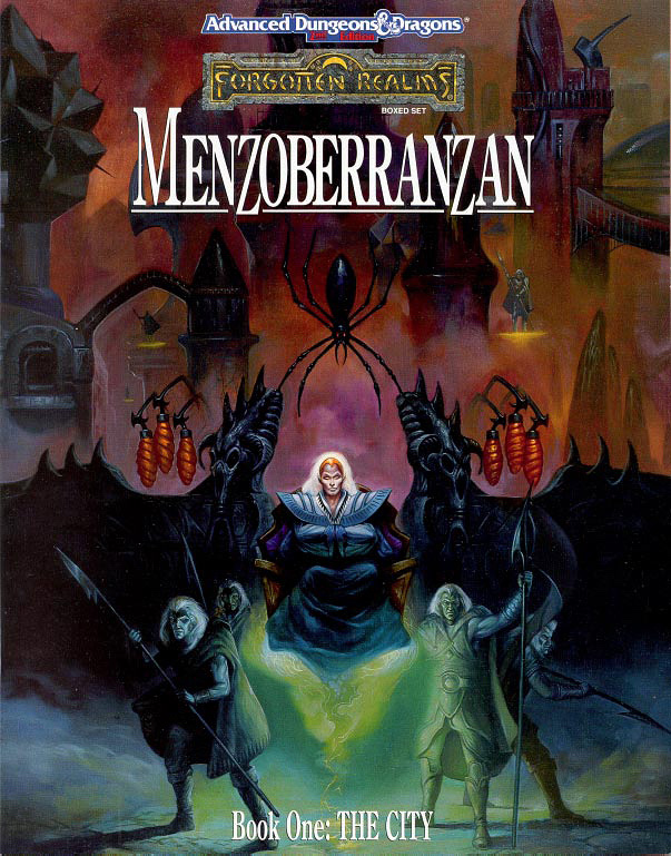 d&d dark elf drow Matrona e altri drow - by Jeff Easley TSR - Forgotten Realms Boxed Set, Menzoberranzan (1992-09) © Wizards of the Coast & Hasbro