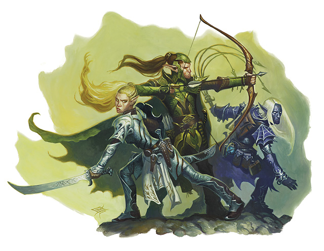 dark elf Eladrin elfo e drow insieme - by Steve Prescott D&D Essential, Monster Vault (2010-11) © Wizards of the Coast & Hasbro