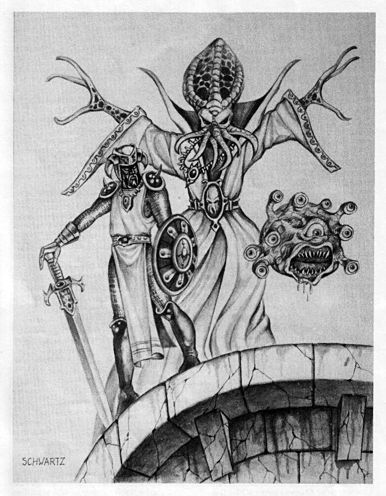 d&d dark elf illithid Ulitharid mind flayer e compari, drow e beholder - by Stephen Schwartz Dungeon Magazine #24 (1990-07) © Wizards of the Coast & Hasbro