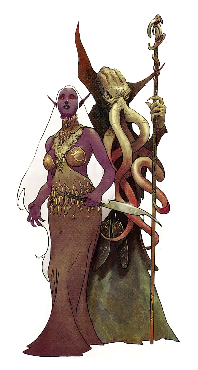 d&d dark elf mind flayer Illithid e drow - by Scott Schomburg Polyhedron Magazine (2002-05) © Wizards of the Coast & Hasbro