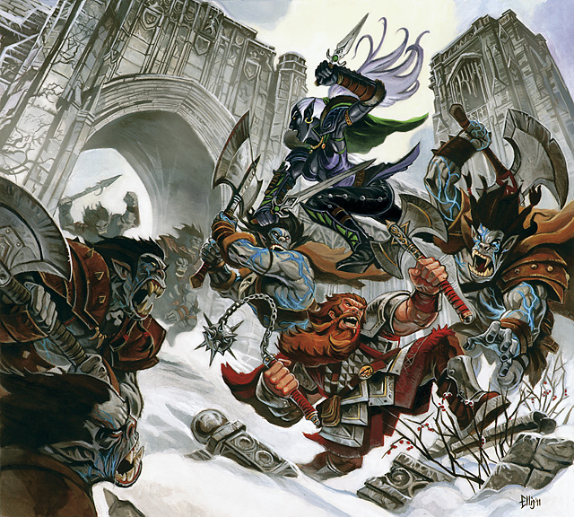dark elf orcs d&d Drow contro una banda di orchi - by Steve Ellis Neverwinter Campaign Setting (2011-08) © Wizards of the Coast & Hasbro