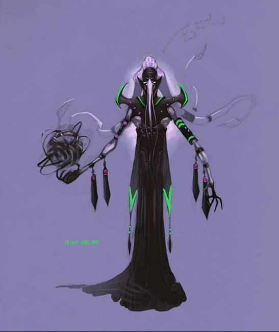 d&d dark elf drow eberron Concept art per il campione Orobus, incrocio tra drow e illithid Videogame: Dungeon & Dragons, Dragonshard (2005-09) © Atari, Wizards of the Coast & Hasbro