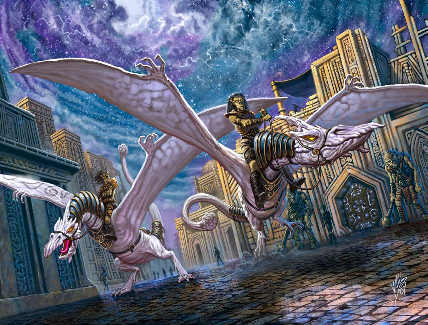 astral whitewing Githyanki a cavallo di alibianche astali, fomorian sullo sfondo- by Frank Wall Dungeon Magazine #167 (2009-06) © Wizards of the Coast & Hasbro