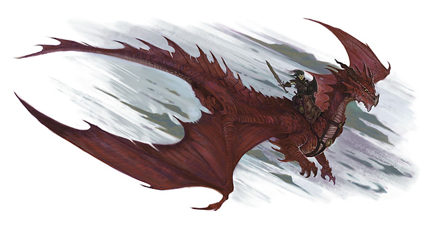 red dragon astral Githyanki con un drago rosso - by William O'Connor The Plane Above, Secrets of the Astral Sea (2010-04) © Wizards of the Coast & Hasbro