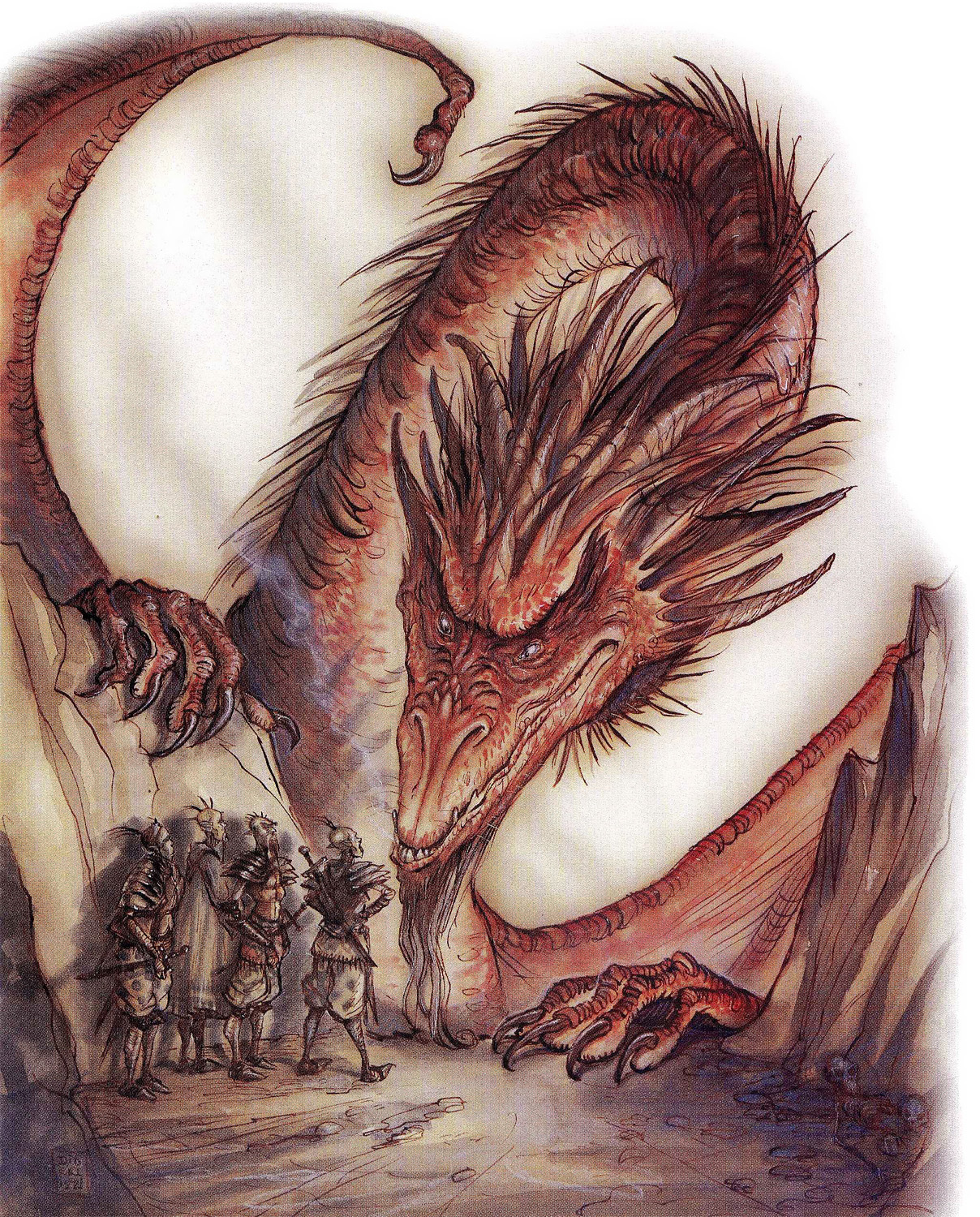 red dragon Githyanki si accordano con drago rosso - by Tony Diterlizzi TSR - A Guide to Astral Plane (1996-10) © Wizards of the Coast & Hasbro