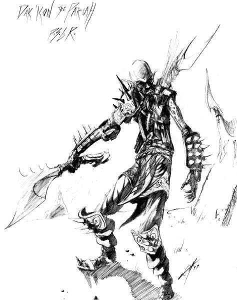 githzerai zerth sketch Dak'kon, schizzo preparatorio Videogame: Planescape Torment (1999) © Black Isle Studios, Wizards of the Coast & Hasbro