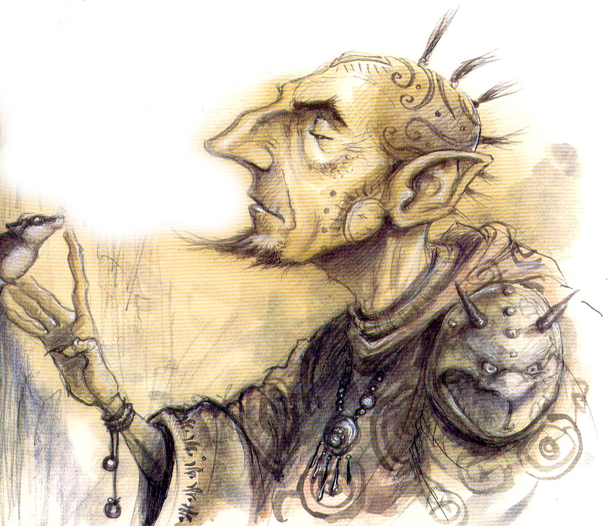 {$tags} Parakk il githzerai, di Sigil - by Tony Diterlizzi TSR - Uncaged, Faces of Sigil (1996-03) © Wizards of the Coast & Hasbro