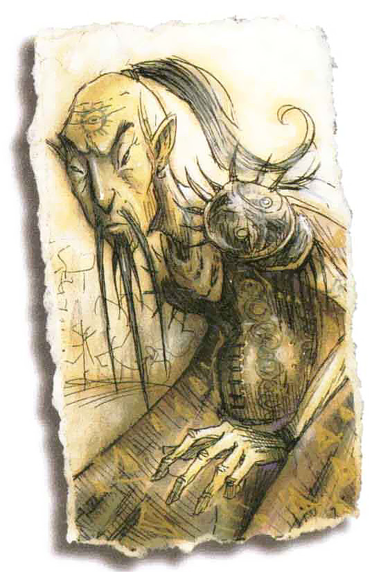portrait Githzerai - by Tony Diterlizzi TSR - The Planewalker's Handbook (1996-08) © Wizards of the Coast & Hasbro