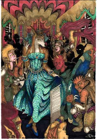 """JordarAd """"The Marauder's Retinue"""", Shemeshka, Signora dei cavalieri del giro, e i suoi lacchè tiefling si preparano per una notte di bagordi alla //Ruota della Fortuna// nel quartiere della Signora - by Jordan C. Brun (JordarAd) jordar.deviantart.com (2006) © dell'autore tutti i diritti riservati"""