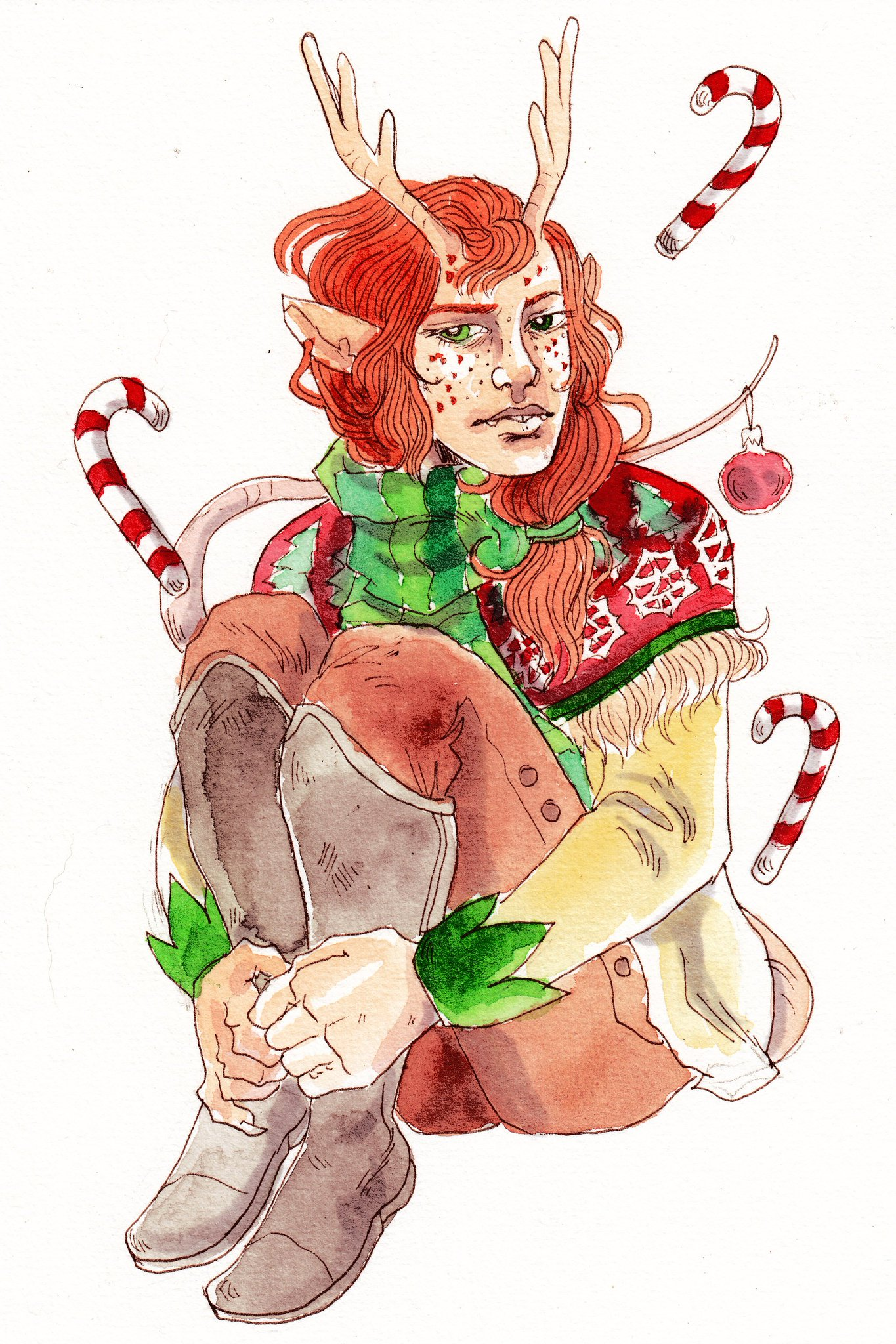 kayla-cline Tiefling natalizia - by Kayla Cline www.kaylacline.com (2017-12) © dell'autore, tutti i diritti riservati