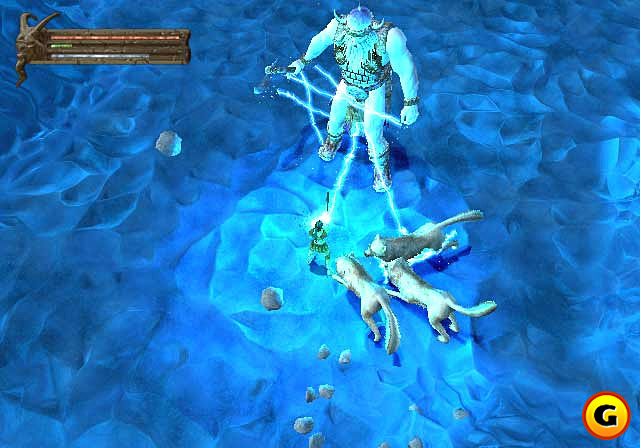 winter wolf frost giant Lupi Invernali e gigante del gelo, screenshot Videogame: Baldur's Gate, Dark Alliance (2001-12) © Interplay, Wizards of the Coast & Hasbro