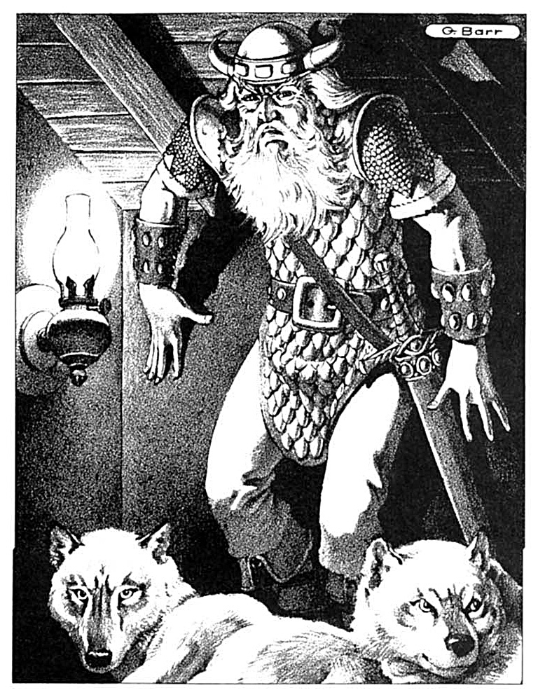 winter wolf frost giant Lupi Invernali e gigante del gelo - by George Barr Dungeon Magazine #15 (1989-01) © Wizards of the Coast & Hasbro