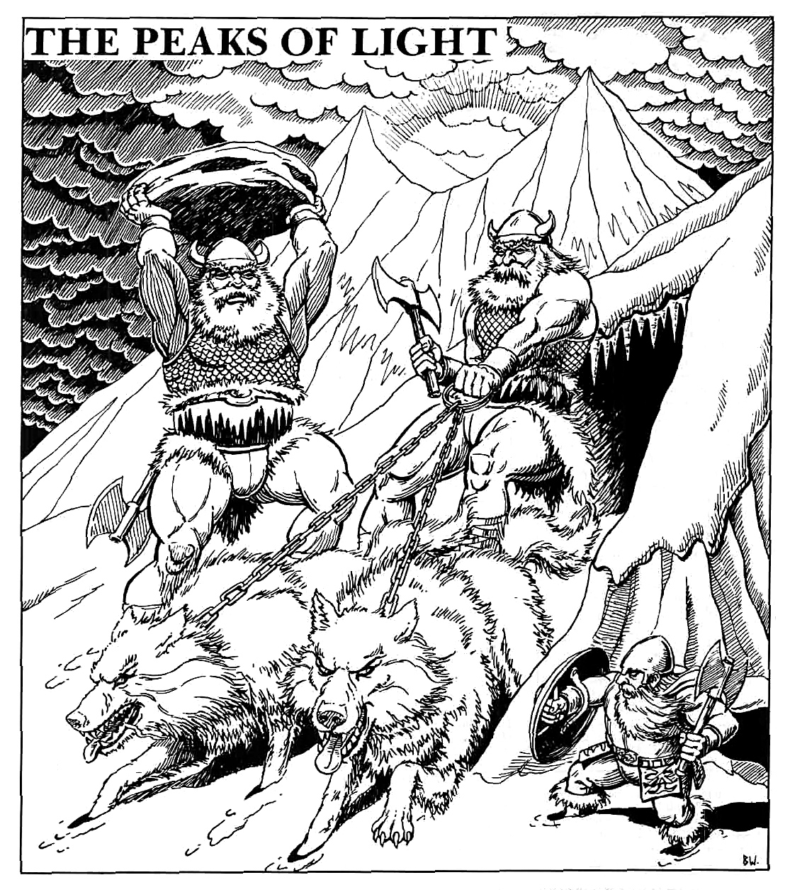 winter wolves frost giants Lupi Invernali e giganti del gelo - by Brian Williams Dark Clouds Gather (1985-12) © Wizards of the Coast & Hasbro