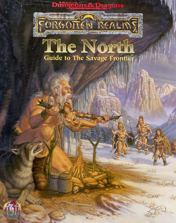 winter wolf hill giant Gigante delle colline e lupo invernale da guardia - by Larry Elmore The North Guide to the Savage Frontier (1996-04) © Wizards of the Coast & Hasbro