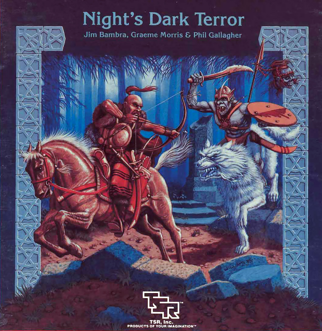 ice wolf Lupo dei ghiacci (o invernale) cavalcato da un goblin - by Brian Williams Night's Dark Terror (1986) © Wizards of the Coast & Hasbro