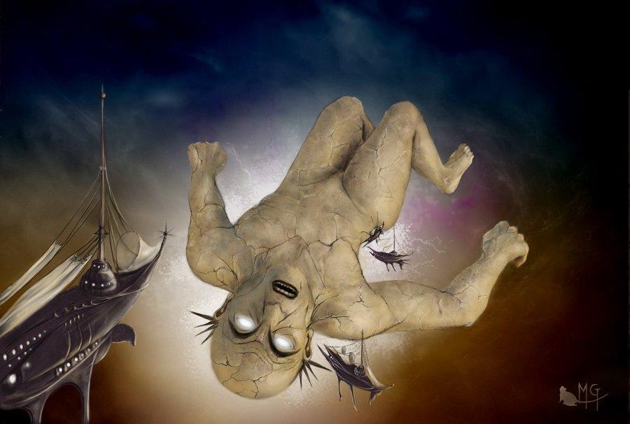 """morgege """"Baine, dieu morte"""", rivisitazione di Bane dalla copertina di **Dead Gods** - by morgege (Genevieve Morge) morgege.deviantart.com (2009) © dell'autore tutti i diritti riservati"""