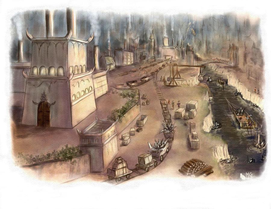 """morgege """"Sigil, Dechetterie"""", lo smaltimento dei rifiuti vicino al Canalone nell'Alveare di Sigil - by morgege (Genevieve Morge) morgege.deviantart.com (2009) © dell'autore tutti i diritti riservati"""