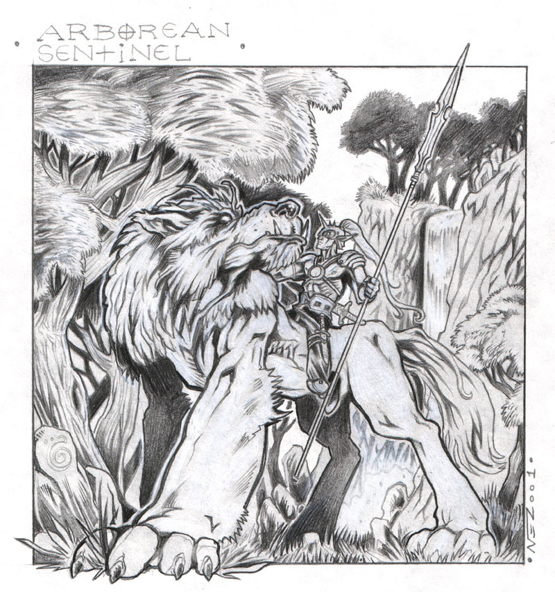 "nezart ""Arborean Sentinel, Fantasy pin up"", disegno preparatorio per elfo di Arborea- by Nezart (Domenico Neziti) nezart.deviantart.com (2001) © dell'autore tutti i diritti riservati"