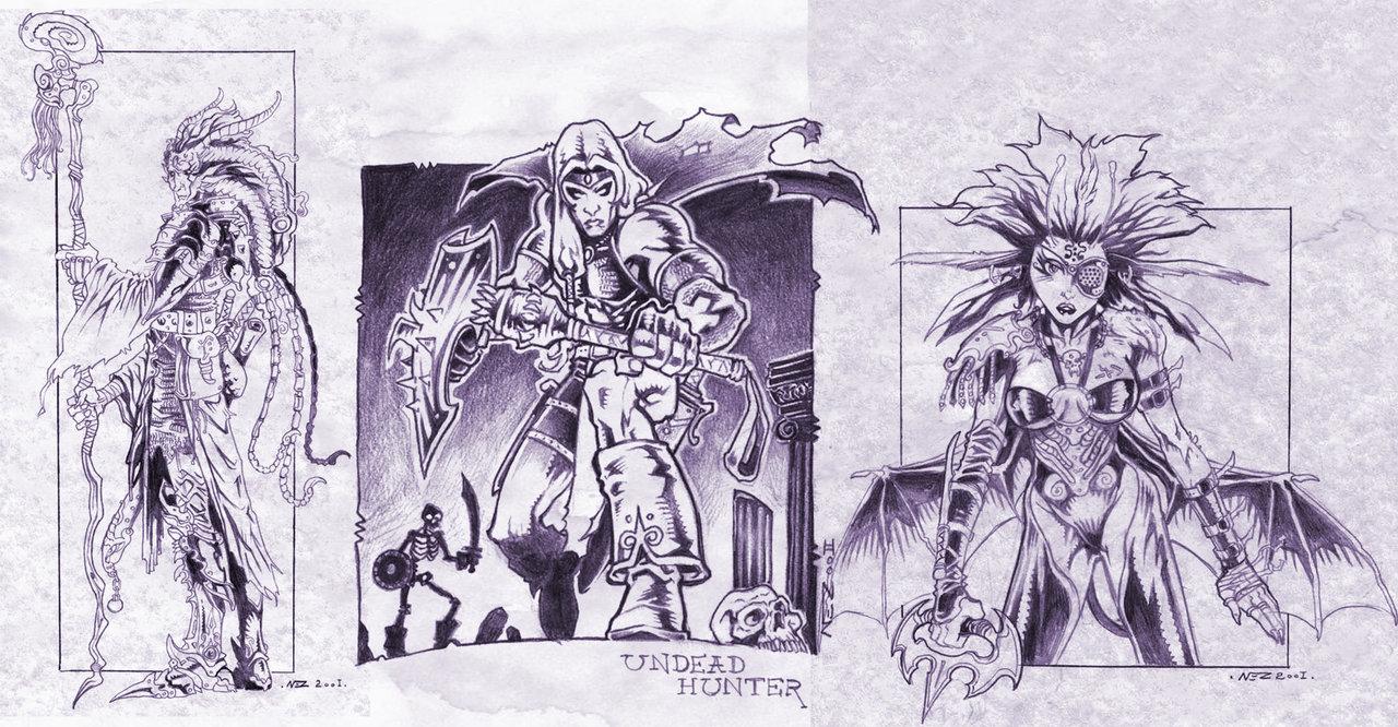 """nezart """"Fantasy Characters"""", disegni preparatori per tiefling, mezzo-immondi e cacciatori di non-morti - by Nezart (Domenico Neziti) nezart.deviantart.com (2001) © dell'autore tutti i diritti riservati"""