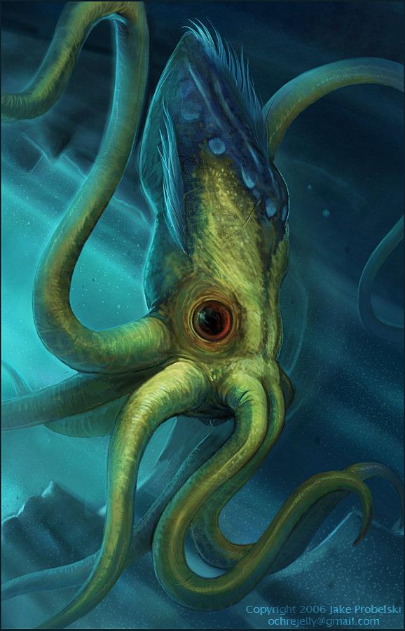 """ochrejelly """"Kraken"""", Illustrazione ufficiale non pubblicata - by ochrejelly (Jake Probelski) ochrejelly.deviantart.com (2006) © dell'autore tutti i diritti riservati"""