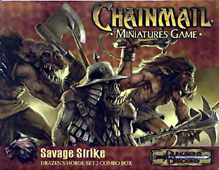 orc Ogre, orco e bugbear, illustrazione per blister di miniature Chainmail Miniatures, Savage Strike (2000/2001) © Wizards of the Coast & Hasbro