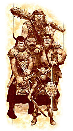 orc Goblinoidi di Faerun: ogre, bugbear, orco, hobgoblin, goblin - by Keith Parkinson TSR - Forgotten Realms Campaign Set (1987-08) © Wizards of the Coast & Hasbro