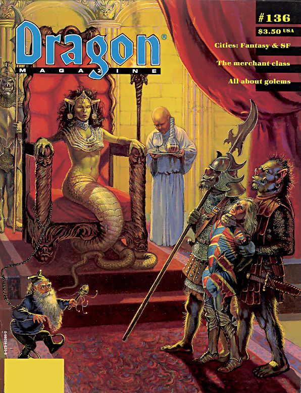 orc Orchi e Lamia nobile in copertina - by Ken Widing Dragon Magazine #136 (1988-08) © Wizards of the Coast & Hasbro