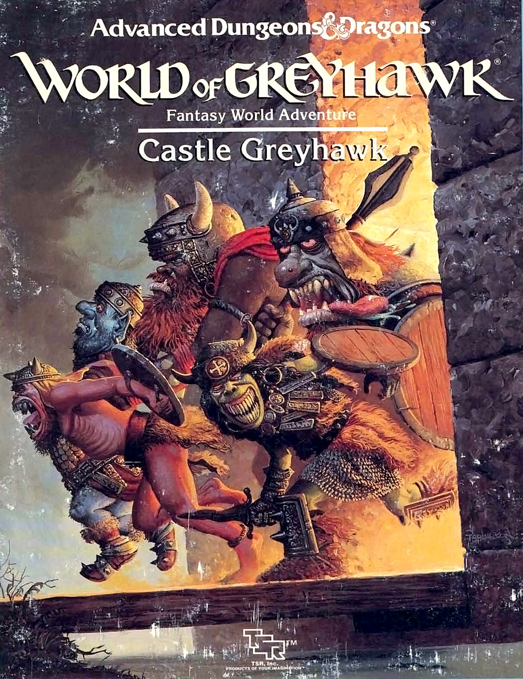 orc fire giant Giganti del fuoco, ogre, orchi e goblin in copertina - by Keith Parkinson Castle Greyhawk (1988-02) © Wizards of the Coast & Hasbro