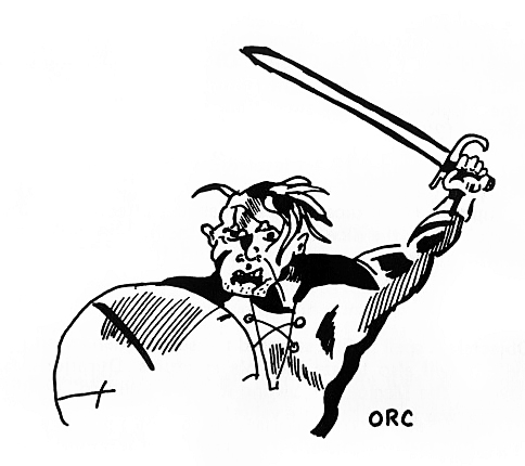 orc od&d Primissimo disegno di un orco in D&D TSR - Basic Rulebook, Men & Magic (1974) © Wizards of the Coast & Hasbro
