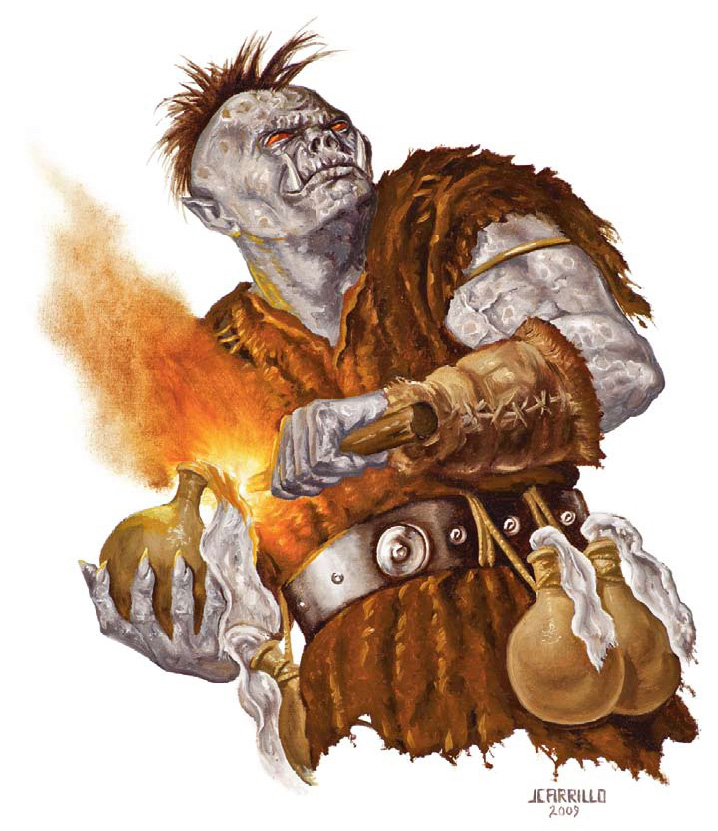 orc pyromaniac Orco piromane - by Jaime Carrillo Dragon Magazine #374 (2009-04) © Wizards of the Coast & Hasbro