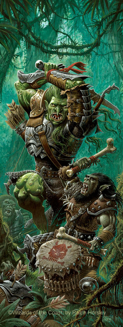 orc war troll Orco musico e Troll da guerra, illustrazione per blister di miniature - by Ralph Horsley D&D Miniatures, War Drums set (2006) © Wizards of the Coast & Hasbro