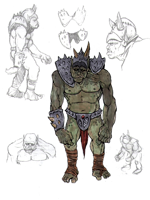 orc draw Orco, concept art Videogame: Pool of Radiance, Ruins of Myth Drannor (2000-06) © Ubisoft, Wizards of the Coast & Hasbro