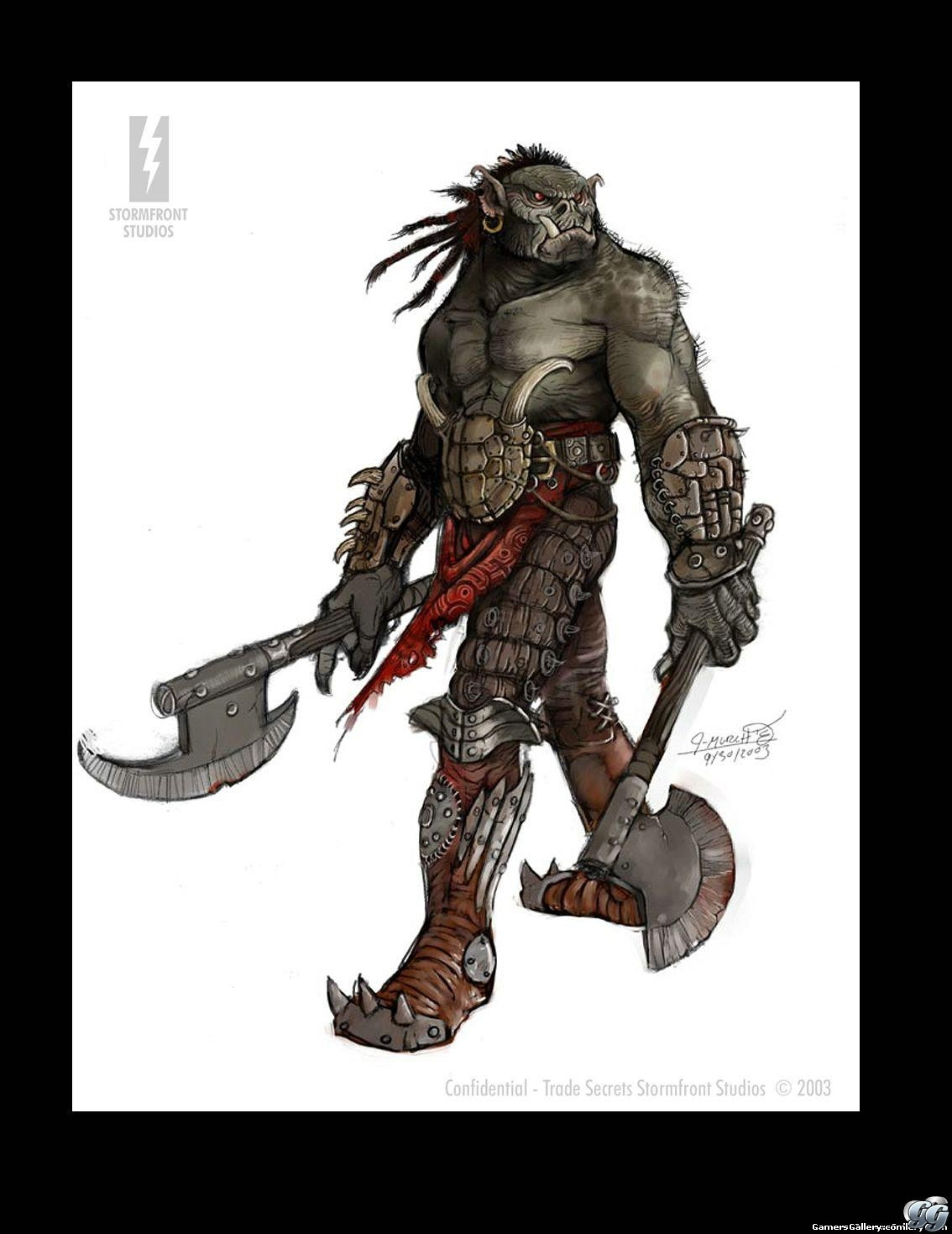 orc draw Concept art, orco Videogame: Forgotten Realms, Demon Stone (2004-11) © Atari, Stormfront Studios, Wizards of the Coast & Hasbro