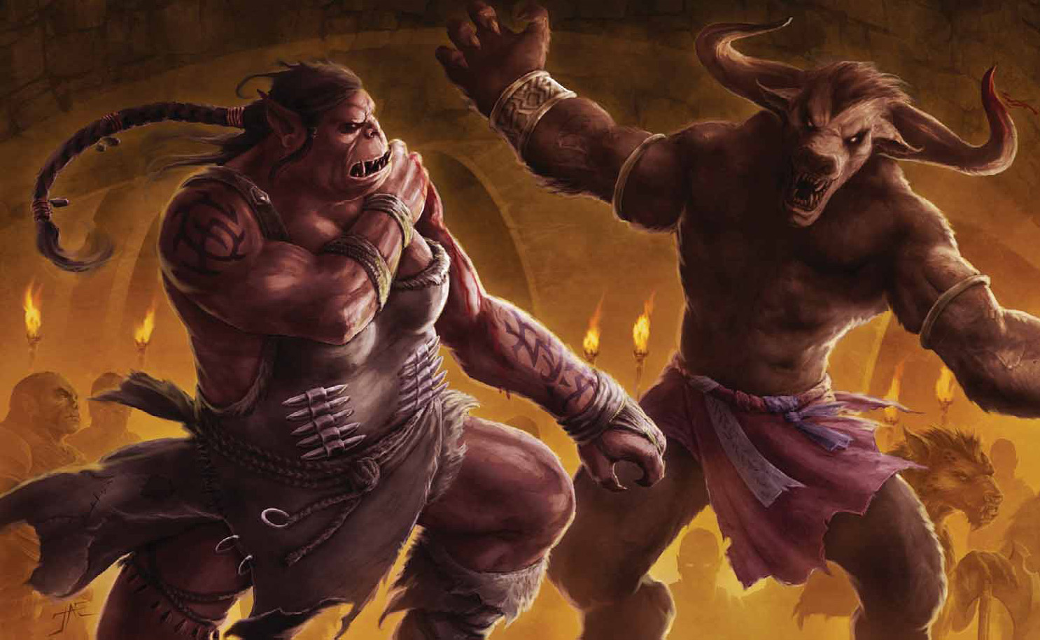 orc minotaur Orchessa e minotauro - by Jason A. Engle Dragon Magazine #368 (2008-10) © Wizards of the Coast & Hasbro