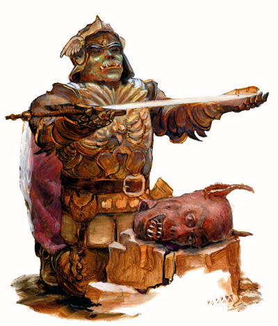 orc paladin Orco paladino - by Matthew Mitchell Libro delle Imprese Eroiche (2000) © 25 Edition, Wizards of the Coast & Hasbro