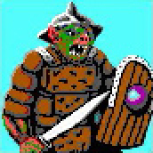 orc pixelart Portrait, orco Videogame: Pool of Radiance (1988-12) © SSI, Wizards of the Coast & Hasbro