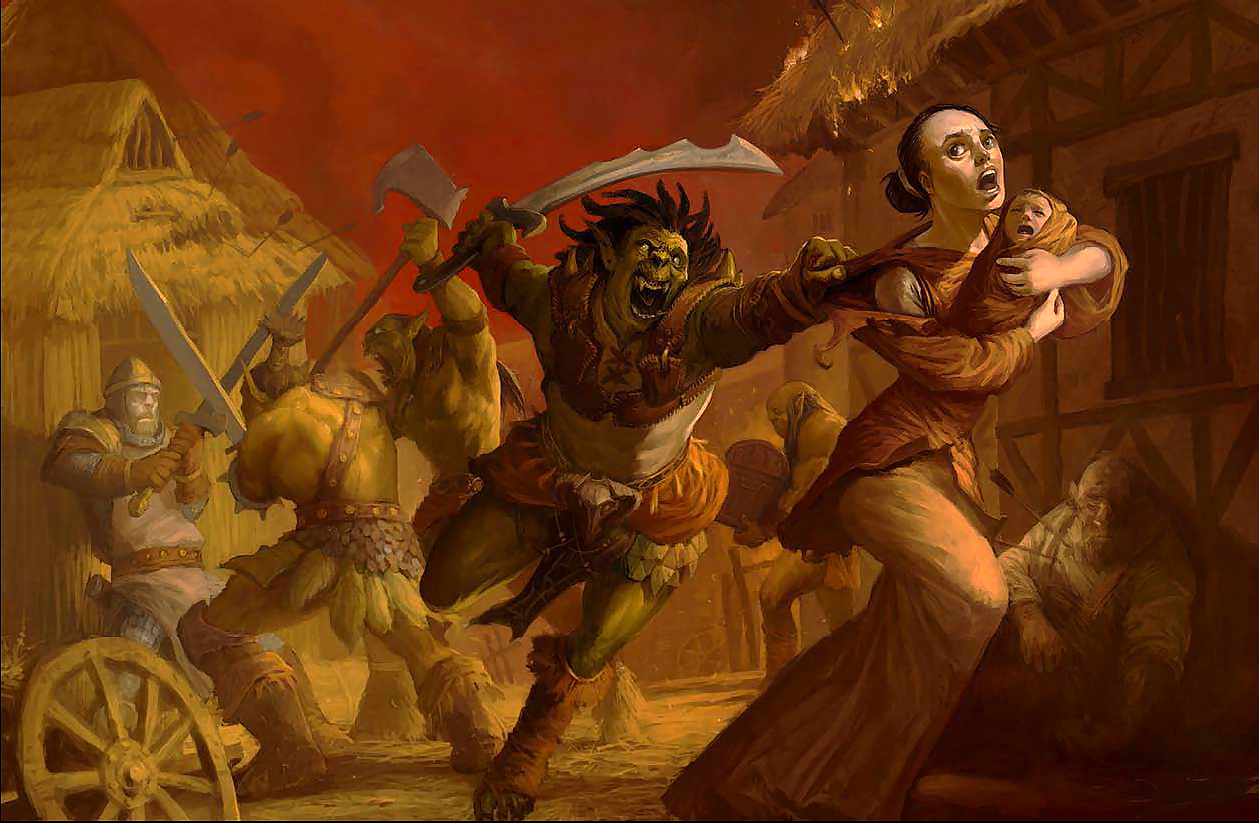 orc Orchi predoni Pathfinder Chronicles, Classic Monsters Revisited (2008) © Paizo Publishing, Wizards of the Coast & Hasbro