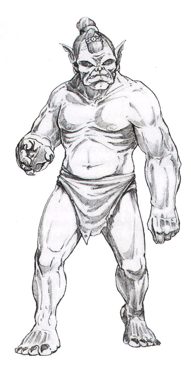orc sketch Schizzo preparatorio di orco Wizards Presents, Worlds and Monsters (2008-01) © Wizards of the Coast & Hasbro