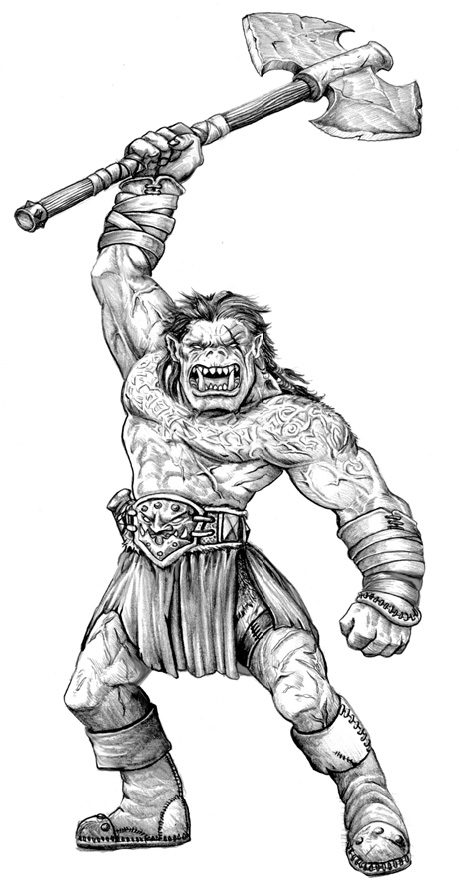 orc sketch Orco, bozzetto Dungeon Magazine #157 (2008-08) © Wizards of the Coast & Hasbro