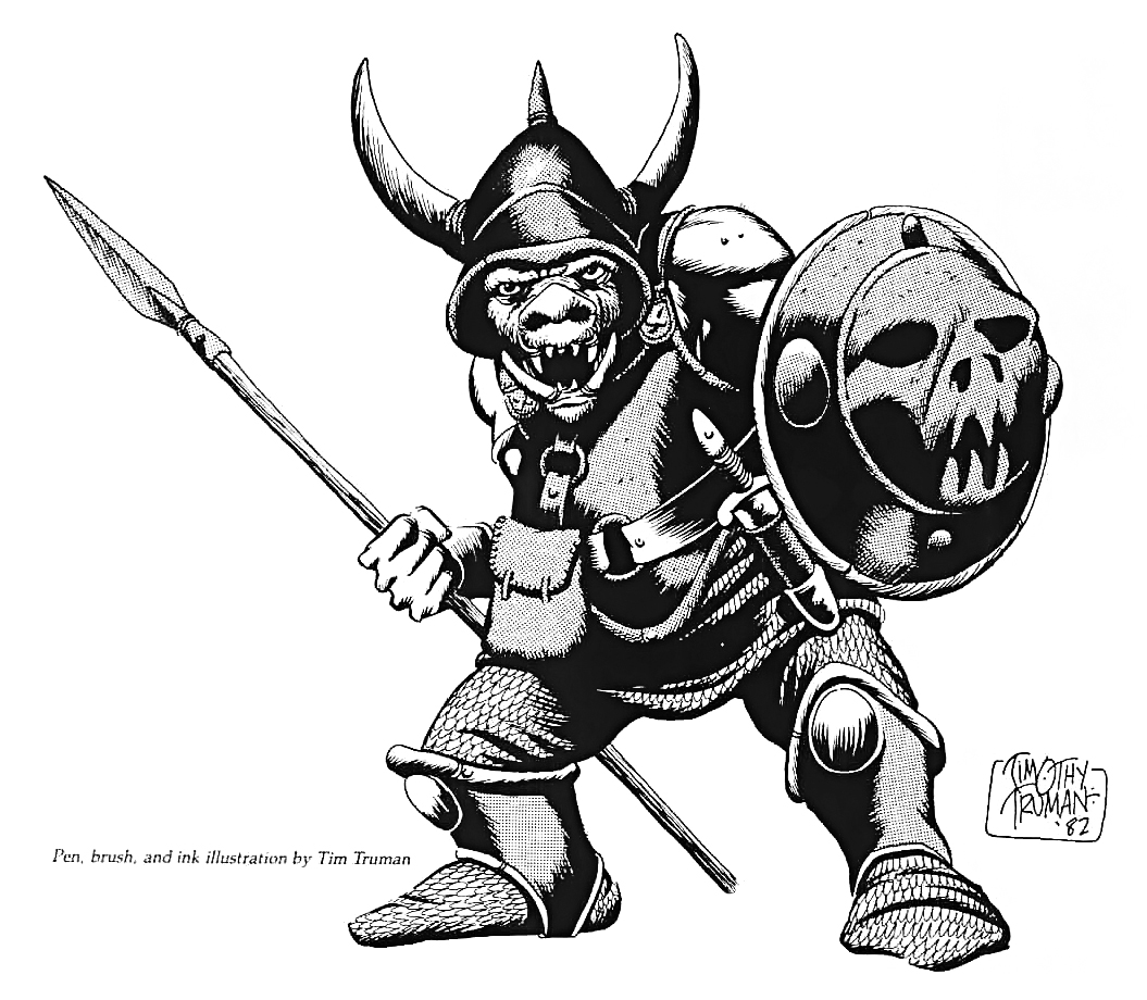 orc toy sketch Bozzetto n.2 per una action figure in pvc di orco - by Timothy Truman Official Advanced Dungeons & Dragons toys (1985) © LJN, Wizards of the Coast & Hasbro
