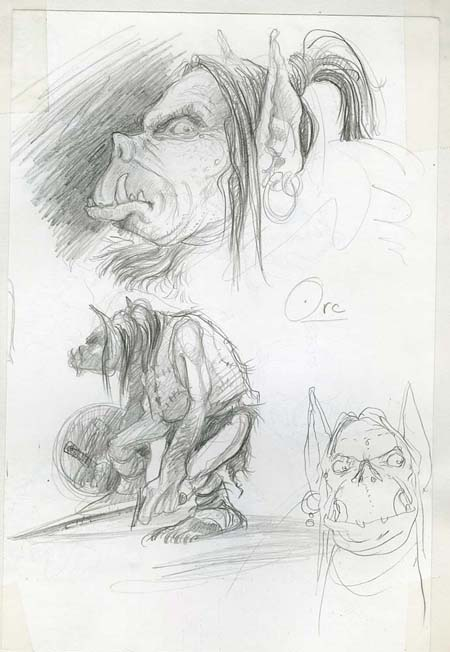 orc sketch Orco, schizzo preparatorio non pubblicato - by Tony Diterlizzi TSR - Monstrous Manual (1993) © Wizards of the Coast & Hasbro