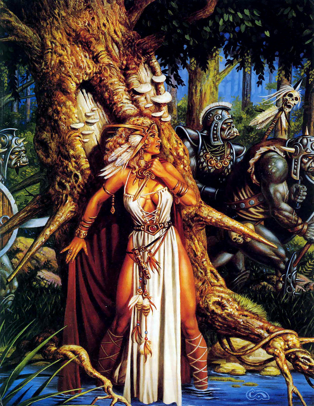 orcs Orchi e principessa in pericolo - by Clyde Caldwell TSR - The Complete Book of Humanoids (1993) © Wizards of the Coast & Hasbro