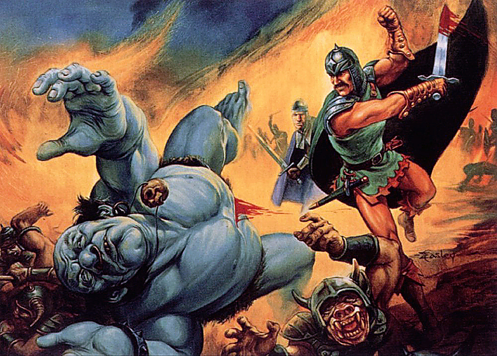 orc Orchi e ogre sbaragliati - Jeff Easley TSR, Battlesystem - Bloodstone Pass (1985-12) © Wizards of the Coast & Hasbro