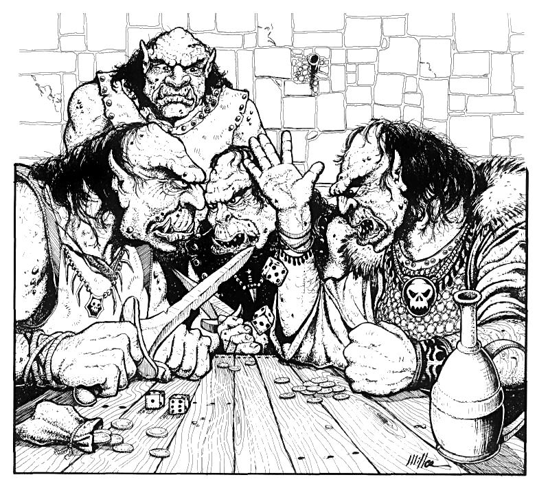 orcs Orchi a tavola - by David O'Miller Dungeon Magazine #24 (1990-07) © Wizards of the Coast & Hasbro