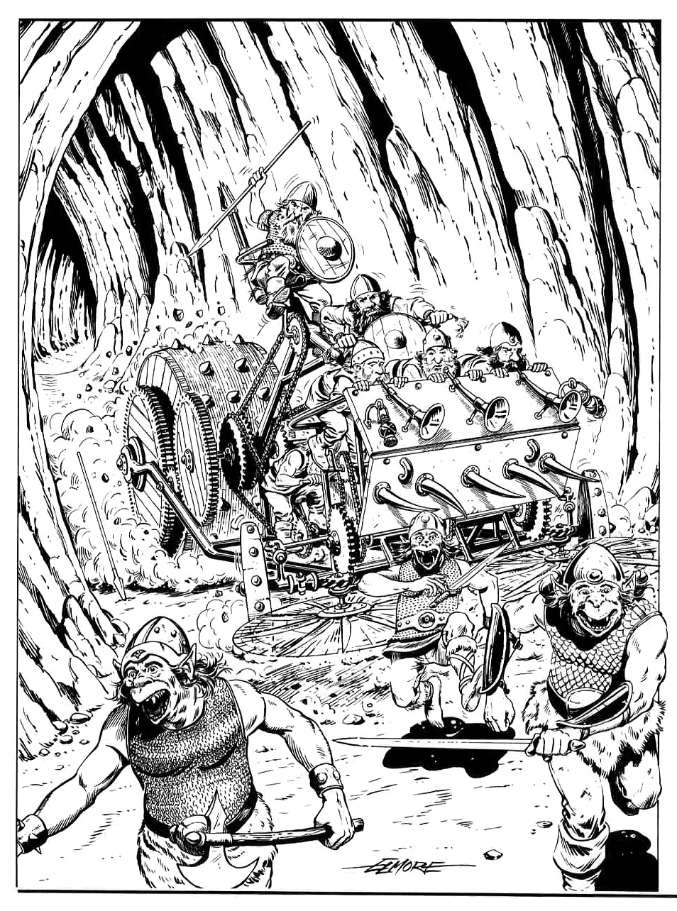 orcs dwarf dwarves Orchi in fuga davanti alle diavolerie naniche - by Larry Elmore TSR - The Complete Book of Dwarves (1991-10) © Wizards of the Coast & Hasbro