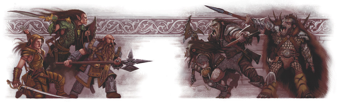 orcs elf dwarf Orchi contro nano, elfo e mezzelfo - by William O'Connor Guida del Dungeon Master (2008-06) © 25 Edition, Wizards of the Coast & Hasbro