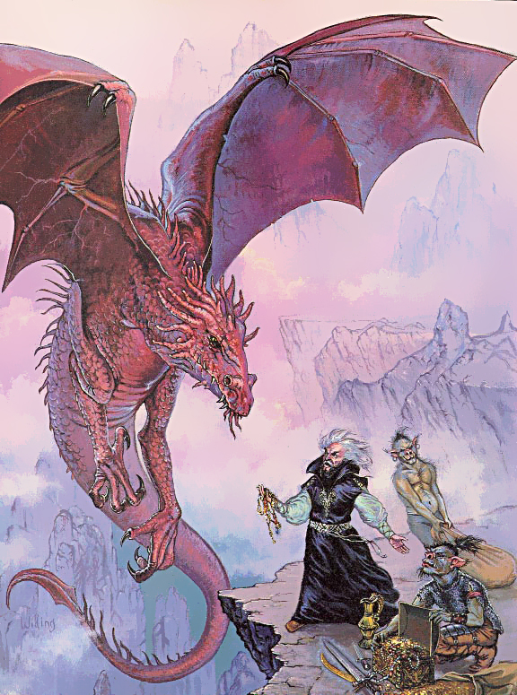 orcs red dragon Orchi servitori, accordo con un drago rosso - by Ken Wilding Dragon Magazine #134 (1988-06) © Wizards of the Coast & Hasbro
